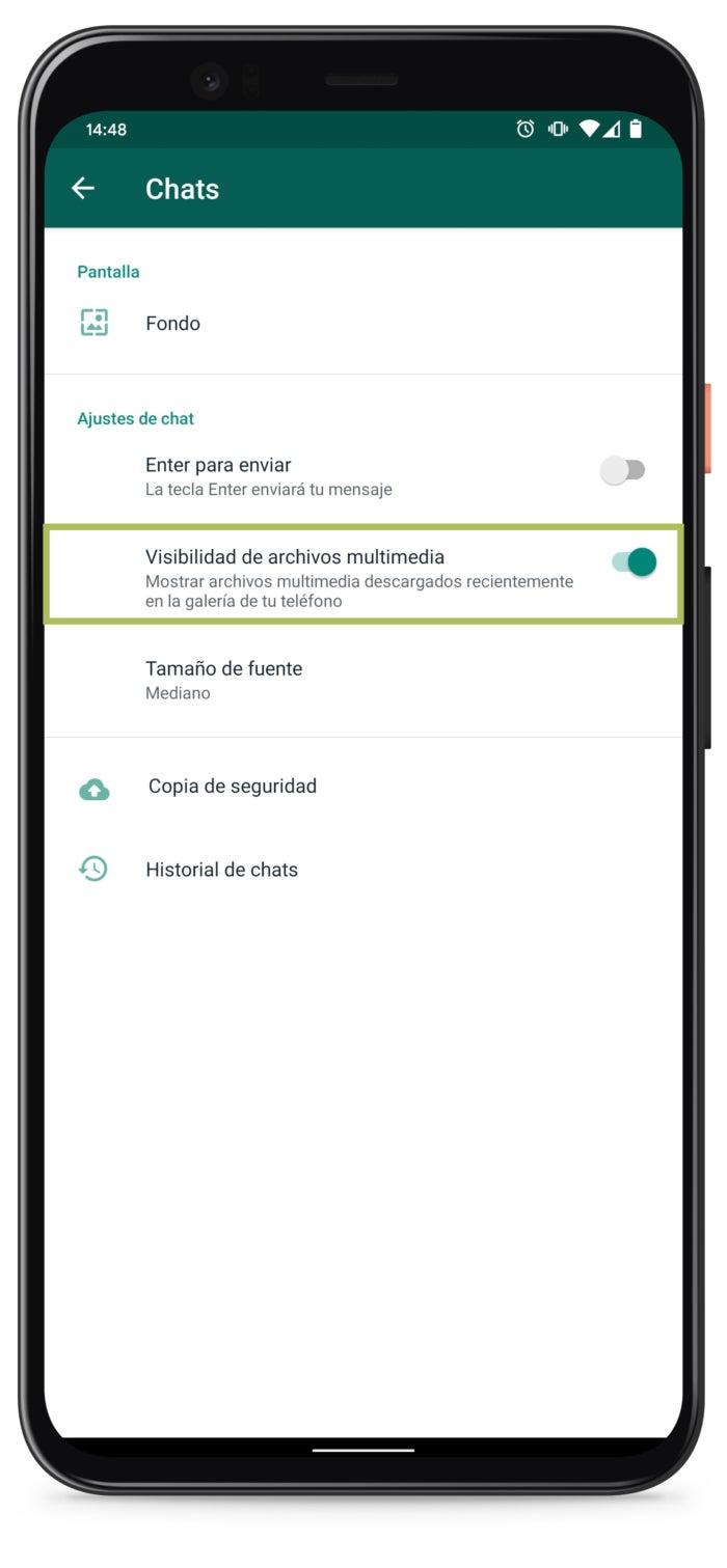 Activar visibilidad de archivos multimedia en WhatsApp